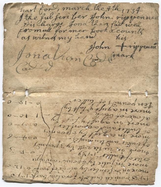 1734 receipt from John Rippenner