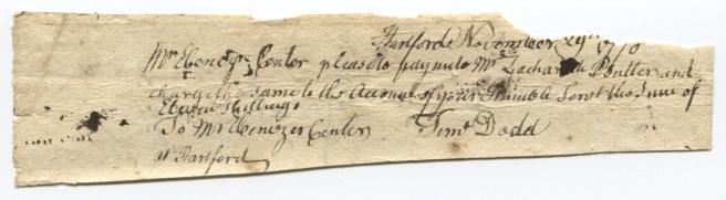 Timothy Dodd's order, 1770?